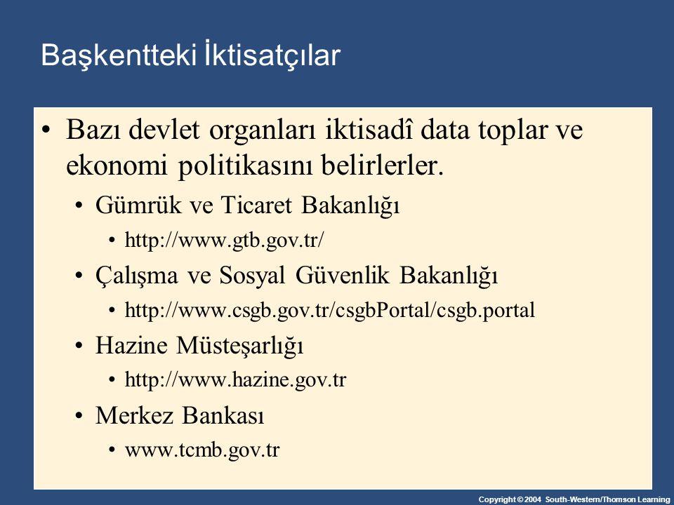 Copyright © 2004 South-Western/Thomson Learning Başkentteki İktisatçılar Bazı devlet organları iktisadî data toplar ve ekonomi politikasını belirlerle
