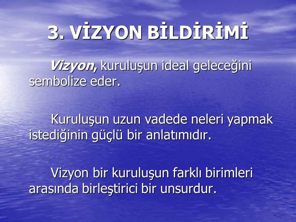 3.VİZYON BİLDİRİMİ Vizyon, kuruluşun ideal geleceğini sembolize eder.