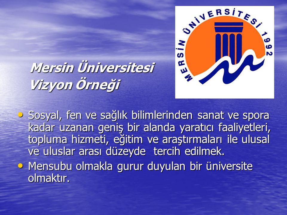Mersin Üniversitesi Mersin Üniversitesi Vizyon Örneği Vizyon Örneği Sosyal, fen ve sağlık bilimlerinden sanat ve spora kadar uzanan geniş bir alanda yaratıcı faaliyetleri, topluma hizmeti, eğitim ve araştırmaları ile ulusal ve uluslar arası düzeyde tercih edilmek.