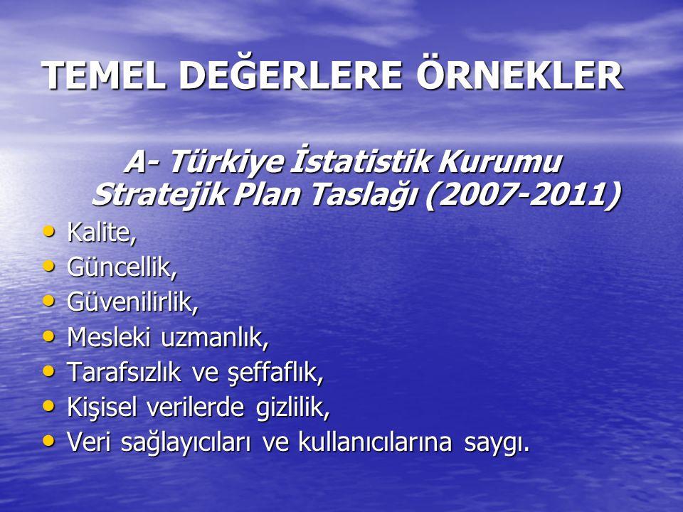 TEMEL DEĞERLERE ÖRNEKLER A- Türkiye İstatistik Kurumu Stratejik Plan Taslağı (2007-2011) Kalite, Kalite, Güncellik, Güncellik, Güvenilirlik, Güvenilirlik, Mesleki uzmanlık, Mesleki uzmanlık, Tarafsızlık ve şeffaflık, Tarafsızlık ve şeffaflık, Kişisel verilerde gizlilik, Kişisel verilerde gizlilik, Veri sağlayıcıları ve kullanıcılarına saygı.