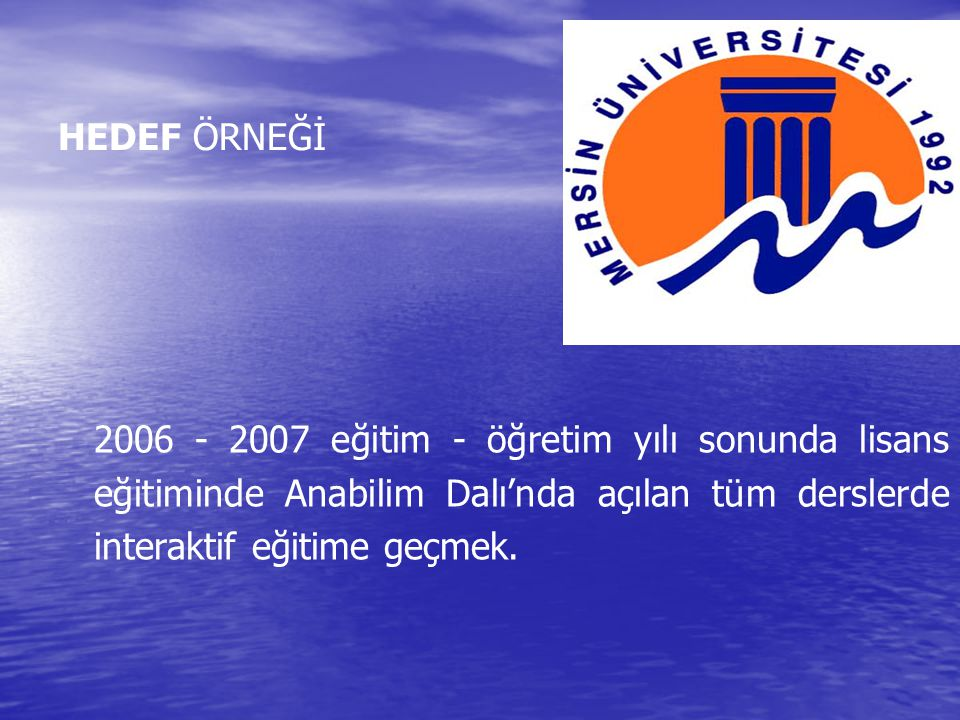 HEDEF ÖRNEĞİ 2006 - 2007 eğitim - öğretim yılı sonunda lisans eğitiminde Anabilim Dalı'nda açılan tüm derslerde interaktif eğitime geçmek.