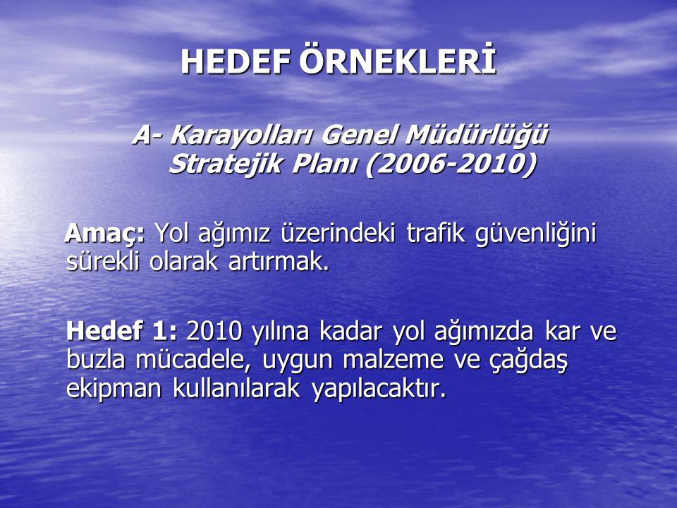 HEDEF ÖRNEKLERİ A- Karayolları Genel Müdürlüğü Stratejik Planı (2006-2010) Amaç: Yol ağımız üzerindeki trafik güvenliğini sürekli olarak artırmak.