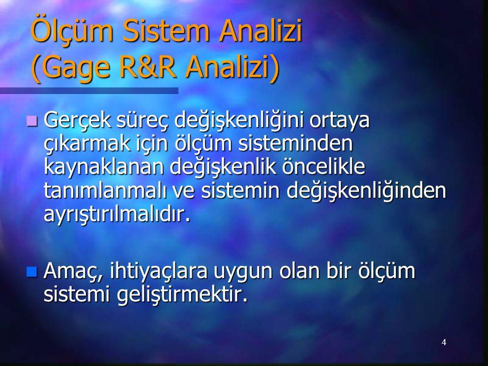 4 Ölçüm Sistem Analizi (Gage R&R Analizi) Gerçek süreç değişkenliğini ortaya çıkarmak için ölçüm sisteminden kaynaklanan değişkenlik öncelikle tanımlanmalı ve sistemin değişkenliğinden ayrıştırılmalıdır.