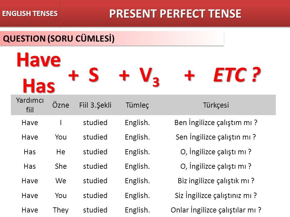 QUESTION (SORU CÜMLESİ) ENGLISH TENSES + S + V 3 +ETC ? PRESENT PERFECT TENSE HaveHas Yardımcı fiil ÖzneFiil 3.ŞekliTümleçTürkçesi HaveIstudiedEnglish
