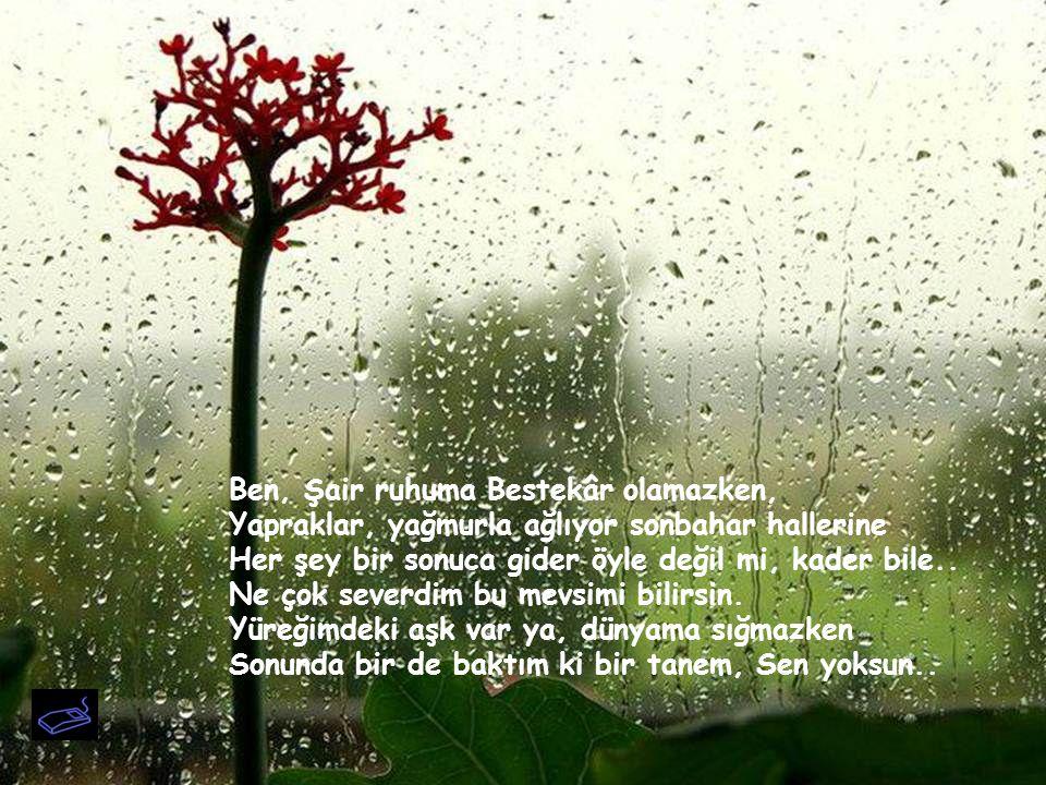 Ben, Şair ruhuma Bestekâr olamazken, Yapraklar, yağmurla ağlıyor sonbahar hallerine Her şey bir sonuca gider öyle değil mi, kader bile..