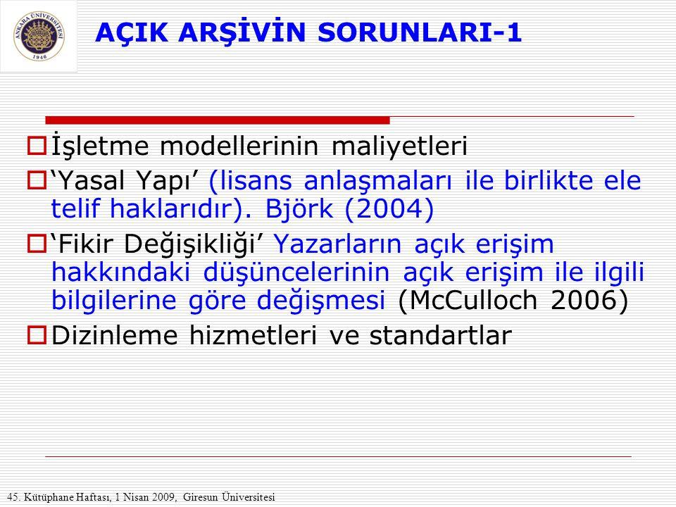 AÇIK ARŞİVİN SORUNLARI-1  İşletme modellerinin maliyetleri  'Yasal Yapı' (lisans anlaşmaları ile birlikte ele telif haklarıdır). Björk (2004)  'Fik