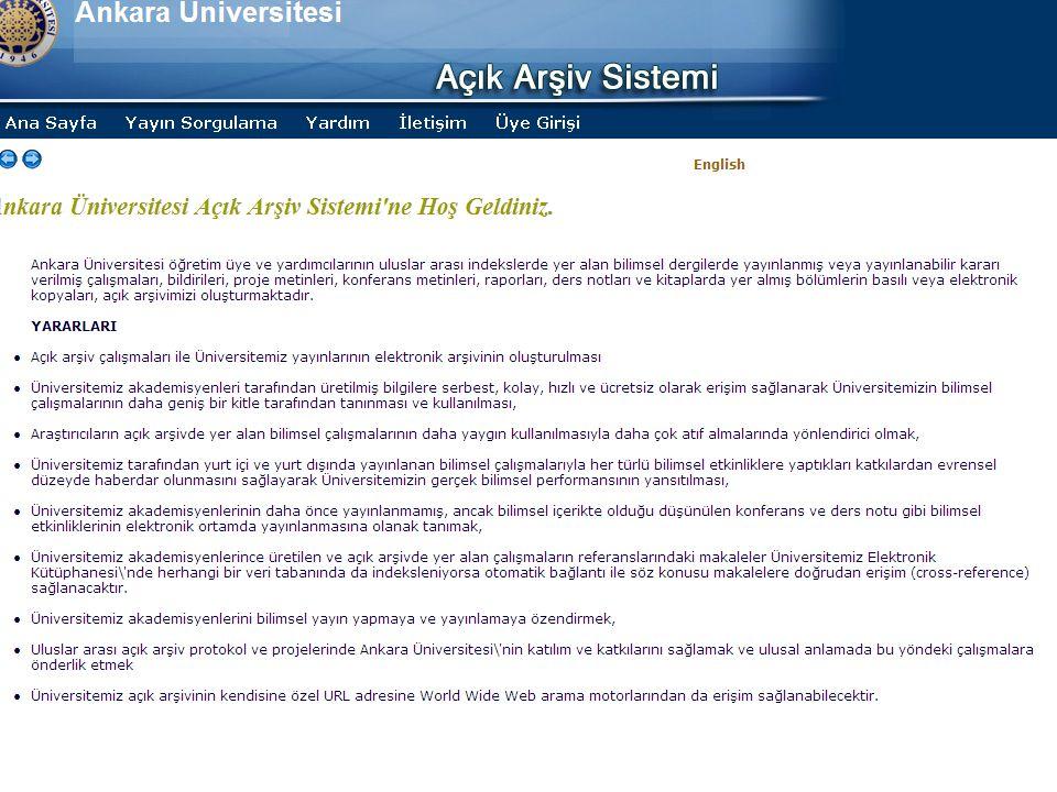 Ankara Üniversitesi Açık Erişim Platformu  Balkan Ülkeleri Kütüphaneler arası İşbirliği Sempozyumu 05 Haziran 2008