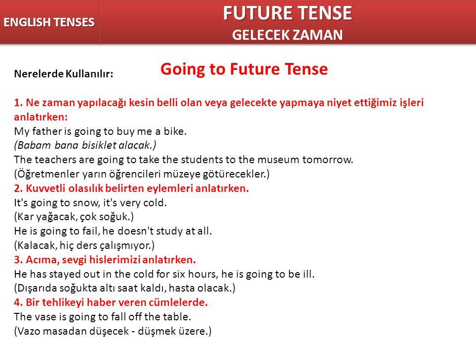 ENGLISH TENSES FUTURE TENSE GELECEK ZAMAN FUTURE TENSE GELECEK ZAMAN Going to Future Tense Nerelerde Kullanılır: 1. Ne zaman yapılacağı kesin belli ol