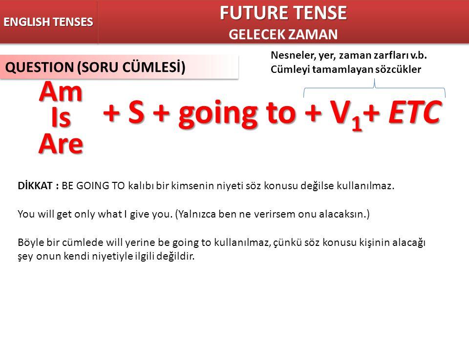 ENGLISH TENSES FUTURE TENSE GELECEK ZAMAN FUTURE TENSE GELECEK ZAMAN QUESTION (SORU CÜMLESİ) + S + going to + V 1 + ETC Nesneler, yer, zaman zarfları