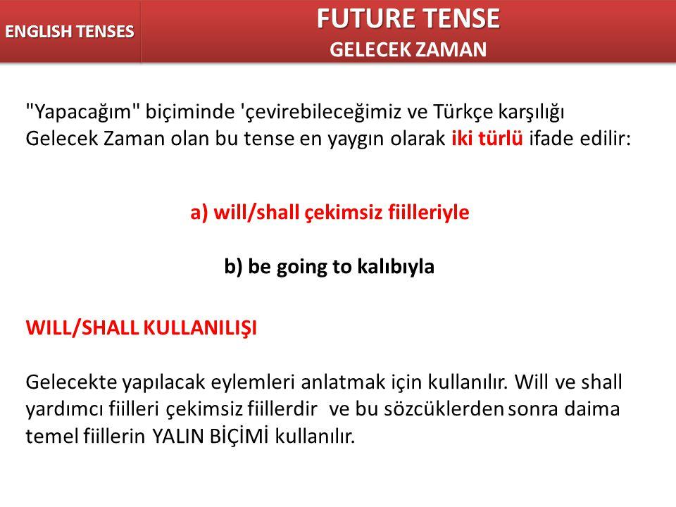 ENGLISH TENSES FUTURE TENSE GELECEK ZAMAN FUTURE TENSE GELECEK ZAMAN