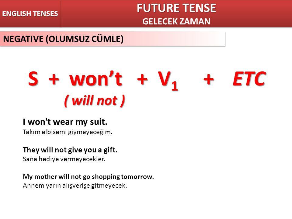 NEGATIVE (OLUMSUZ CÜMLE) ENGLISH TENSES S + won't + V 1 +ETC ( will not ) ( will not ) FUTURE TENSE GELECEK ZAMAN FUTURE TENSE GELECEK ZAMAN I won't w