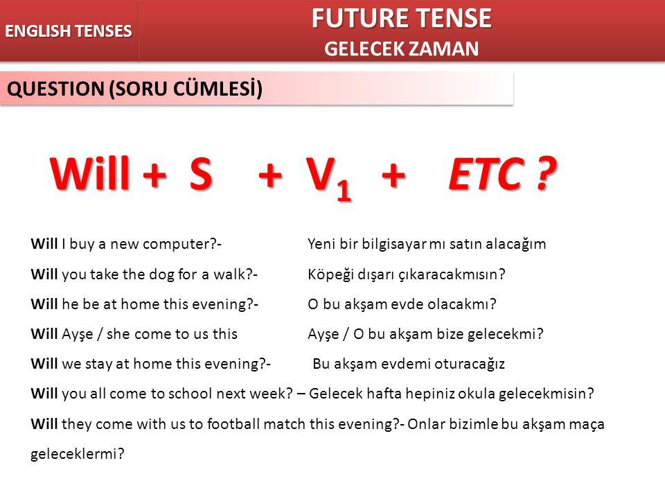 QUESTION (SORU CÜMLESİ) ENGLISH TENSES Will + S + V 1 +ETC ? FUTURE TENSE GELECEK ZAMAN FUTURE TENSE GELECEK ZAMAN Will I buy a new computer?- Yeni bi