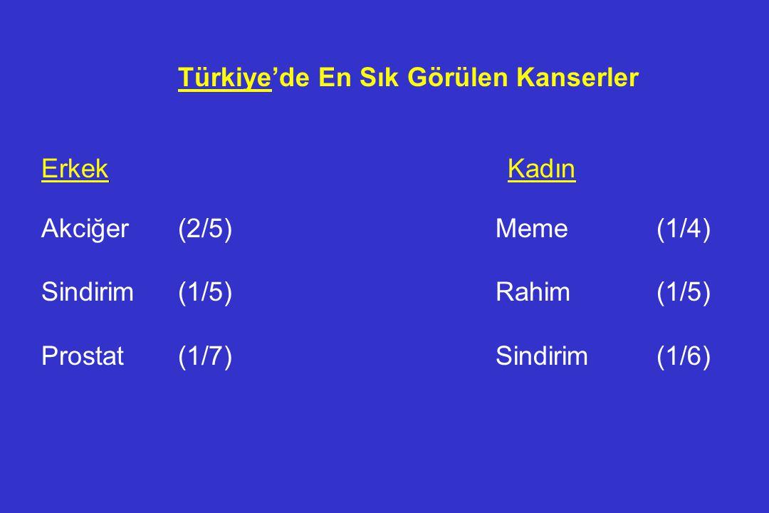 Türkiye'de En Sık Görülen Kanserler Erkek Kadın Akciğer(2/5) Meme(1/4) Sindirim(1/5) Rahim(1/5) Prostat(1/7) Sindirim(1/6)