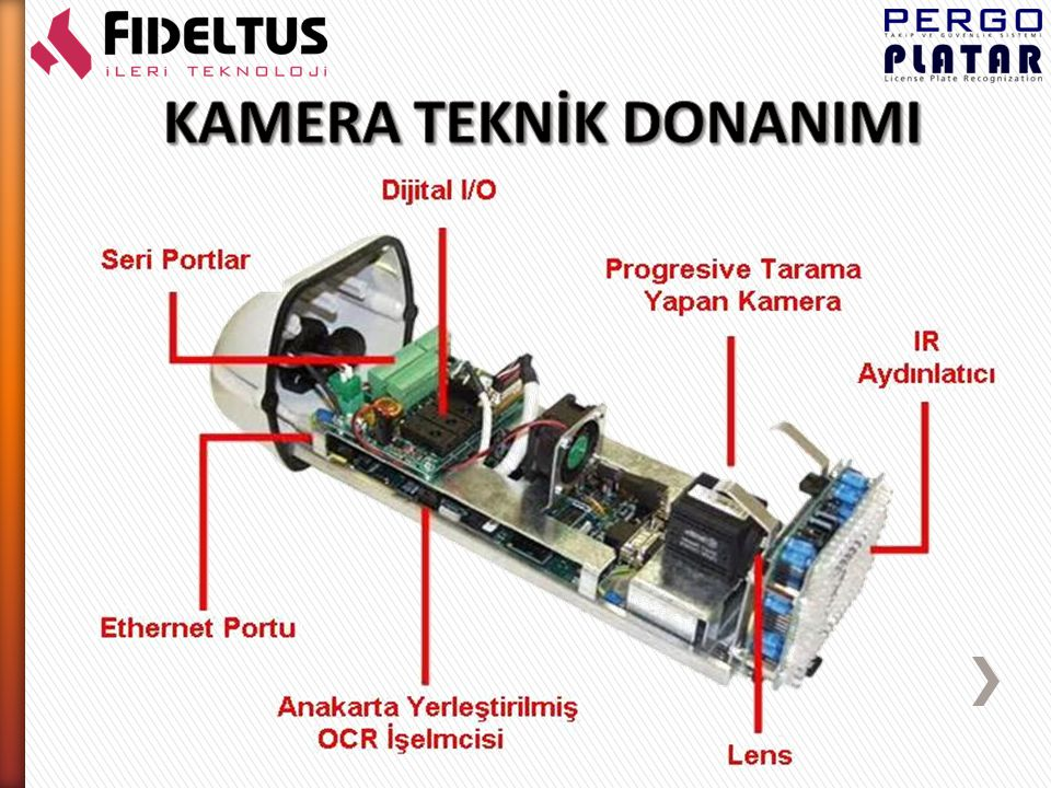 Kameranın içinde bulunan OCR tanımlayıcı işlemcisi sayesinde, gerekli tüm tanımlamalar kamerada yapılmaktadır.