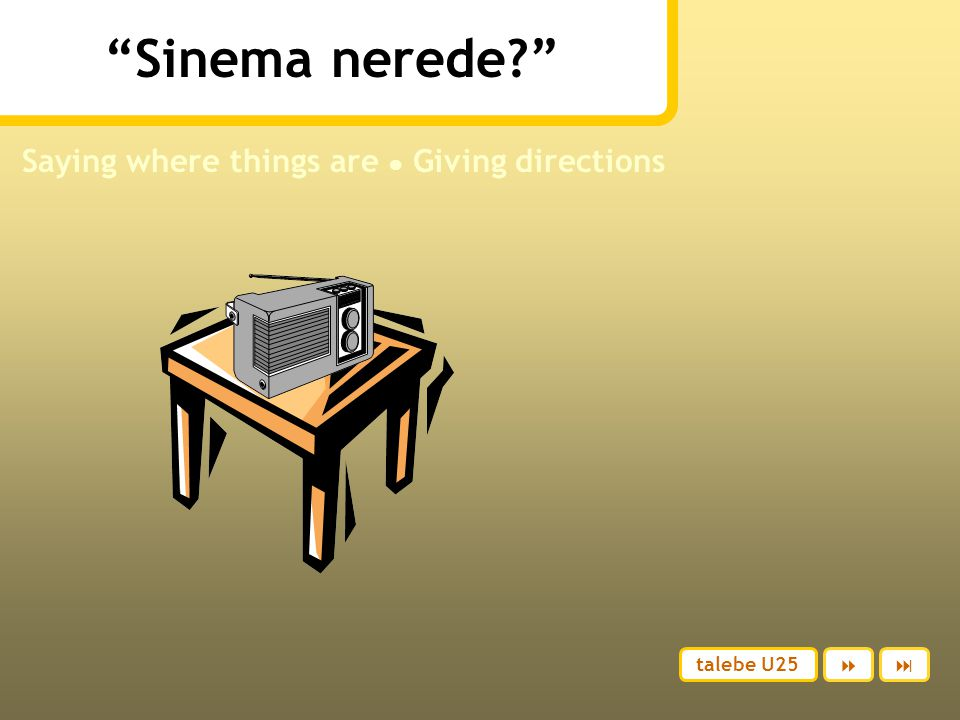 Sinema nerede? Saying where things are ● Giving directions talebe U25 