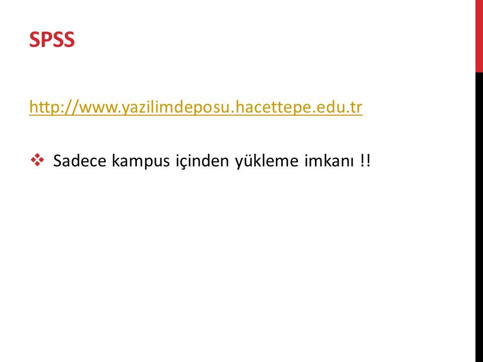 SPSS http://www.yazilimdeposu.hacettepe.edu.tr  Sadece kampus içinden yükleme imkanı !!