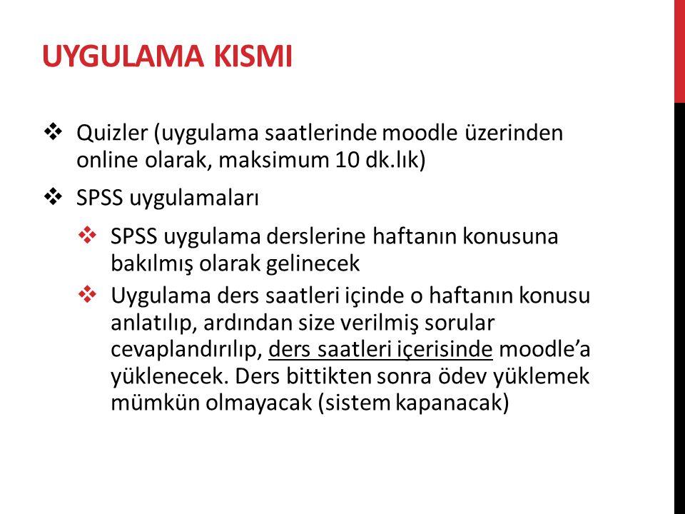 UYGULAMA KISMI  Quizler (uygulama saatlerinde moodle üzerinden online olarak, maksimum 10 dk.lık)  SPSS uygulamaları  SPSS uygulama derslerine haft