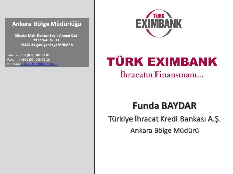 TÜRK EXIMBANK İ hracatın Finansmanı… Funda BAYDAR Türkiye İhracat Kredi Bankası A.Ş.