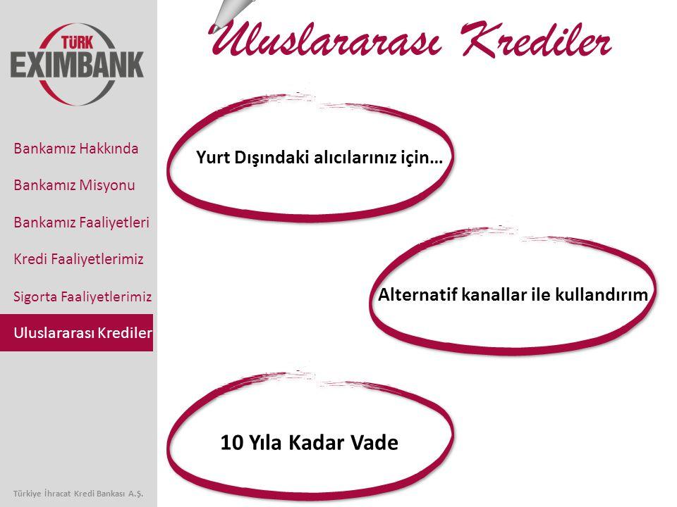 10 Yıla Kadar Vade Alternatif kanallar ile kullandırım Yurt Dışındaki alıcılarınız için… Uluslararası Krediler Bankamız Faaliyetleri Kredi Faaliyetlerimiz Sigorta Faaliyetlerimiz Uluslararası Krediler Bankamız Hakkında Bankamız Misyonu Türkiye İhracat Kredi Bankası A.Ş.