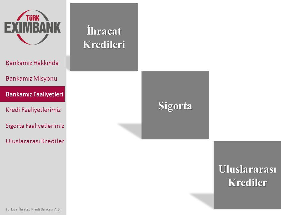 İhracat Kredileri 5 Bankamız Faaliyetleri Kredi Faaliyetlerimiz Sigorta Faaliyetlerimiz Uluslararası Krediler Bankamız Hakkında Bankamız Misyonu Sigor