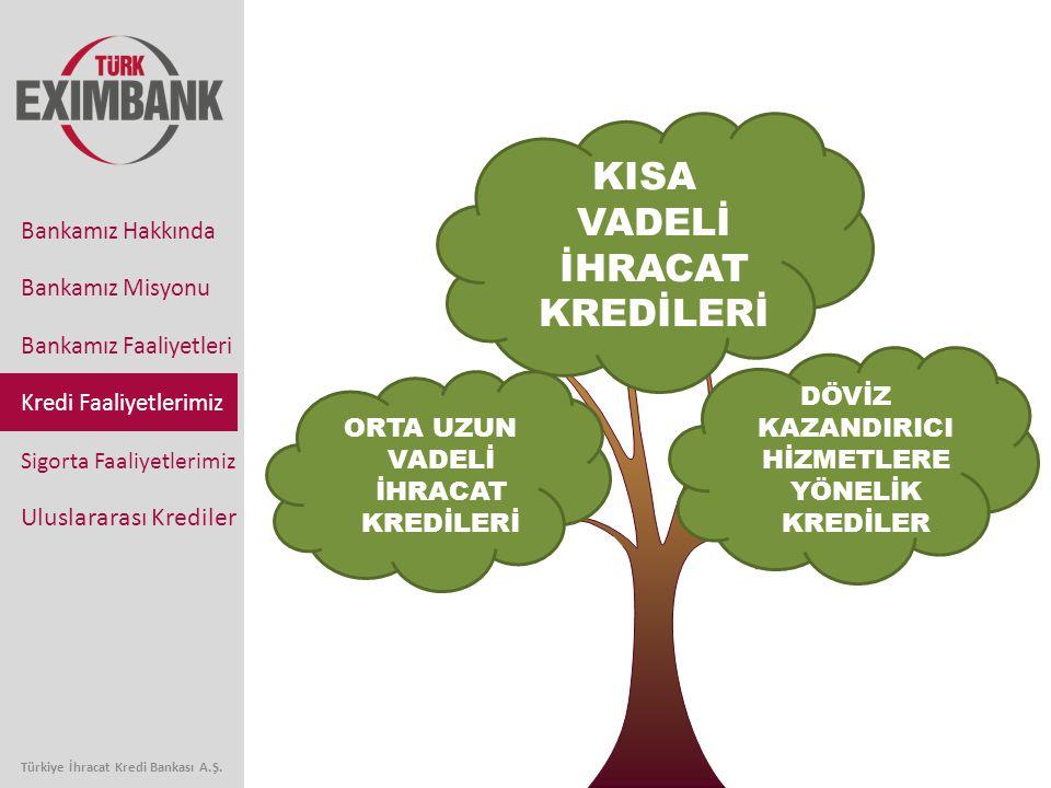 KISA VADELİ İHRACAT KREDİLERİ DÖVİZ KAZANDIRICI HİZMETLERE YÖNELİK KREDİLER ORTA UZUN VADELİ İHRACAT KREDİLERİ Bankamız Faaliyetleri Kredi Faaliyetlerimiz Sigorta Faaliyetlerimiz Uluslararası Krediler Bankamız Hakkında Bankamız Misyonu Türkiye İhracat Kredi Bankası A.Ş.