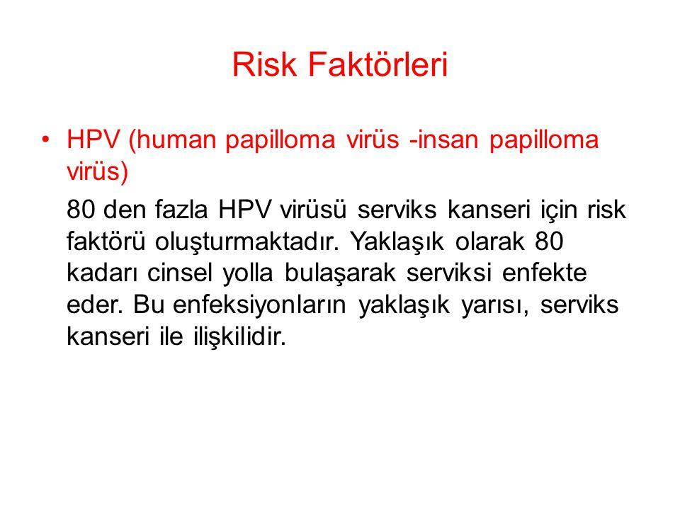 Risk Faktörleri HPV (human papilloma virüs -insan papilloma virüs) 80 den fazla HPV virüsü serviks kanseri için risk faktörü oluşturmaktadır. Yaklaşık