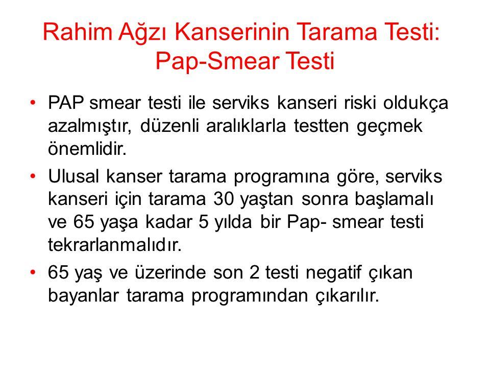 Rahim Ağzı Kanserinin Tarama Testi: Pap-Smear Testi PAP smear testi ile serviks kanseri riski oldukça azalmıştır, düzenli aralıklarla testten geçmek ö