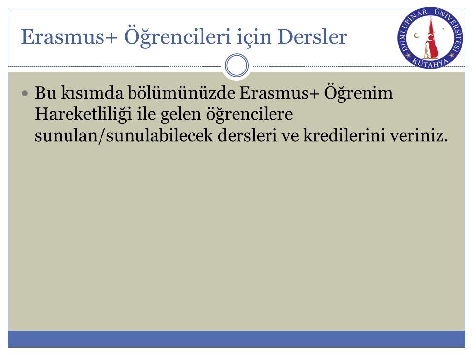 Erasmus+ Öğrencileri için Dersler Bu kısımda bölümünüzde Erasmus+ Öğrenim Hareketliliği ile gelen öğrencilere sunulan/sunulabilecek dersleri ve kredil