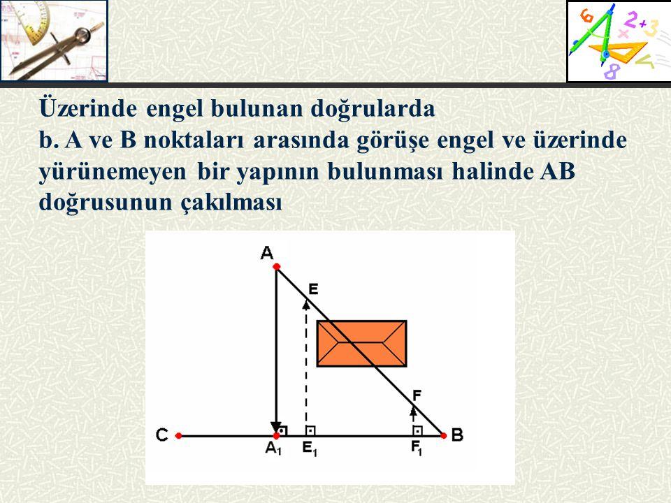 Üzerinde engel bulunan doğrularda b. A ve B noktaları arasında görüşe engel ve üzerinde yürünemeyen bir yapının bulunması halinde AB doğrusunun çakılm