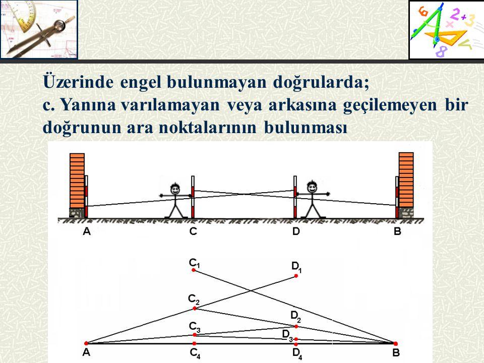 Üzerinde engel bulunmayan doğrularda; c. Yanına varılamayan veya arkasına geçilemeyen bir doğrunun ara noktalarının bulunması