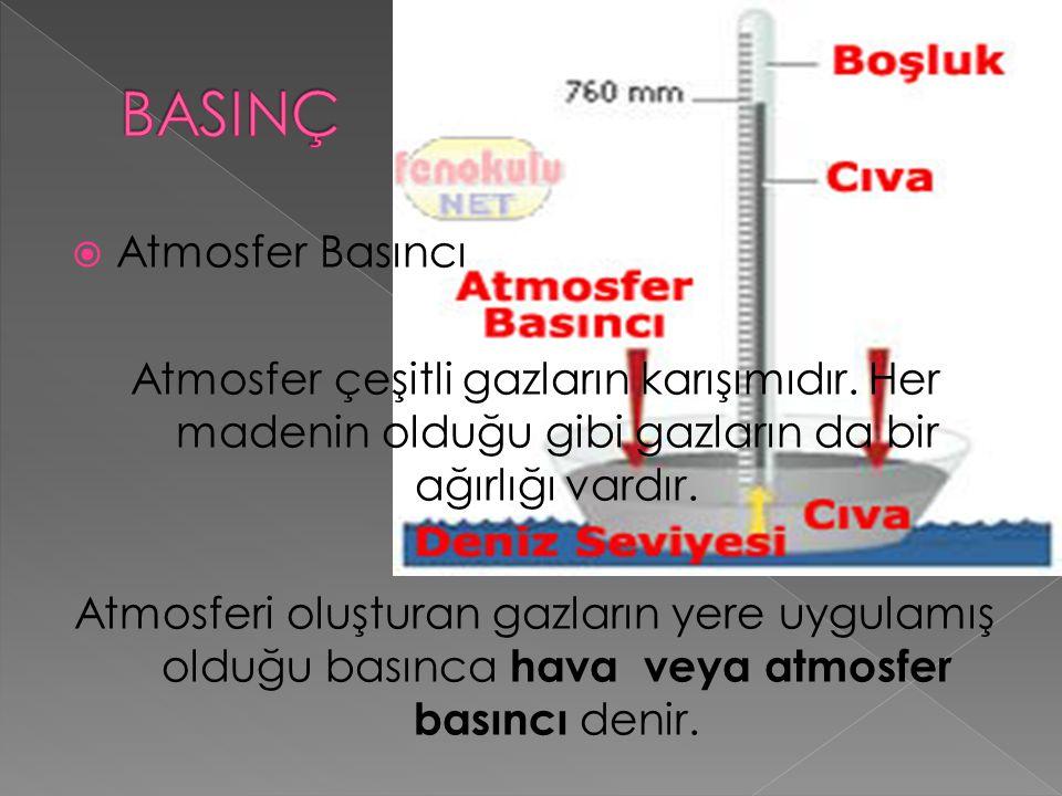 Atmosfer basıncı, yere yaptığı basınç derecesine göre üçe ayrılır.