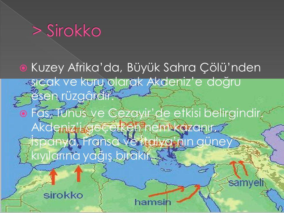  Kuzey Afrika'da, Büyük Sahra Çölü'nden sıcak ve kuru olarak Akdeniz'e doğru esen rüzgârdır.  Fas, Tunus ve Cezayir'de etkisi belirgindir. Akdeniz'i
