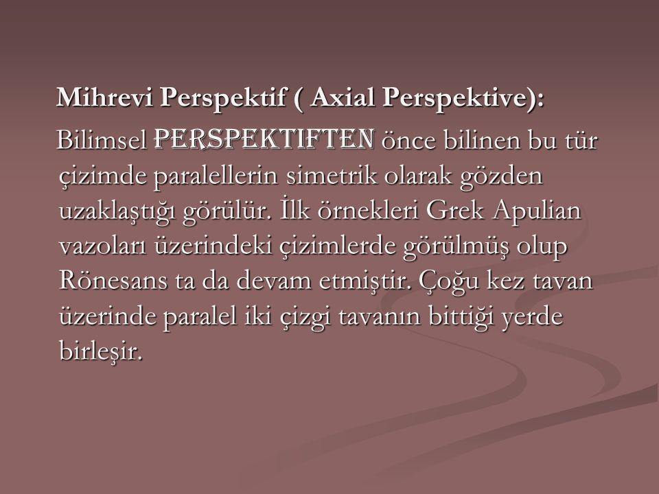 Mihrevi Perspektif ( Axial Perspektive): Mihrevi Perspektif ( Axial Perspektive): Bilimsel perspektiften önce bilinen bu tür çizimde paralellerin sime