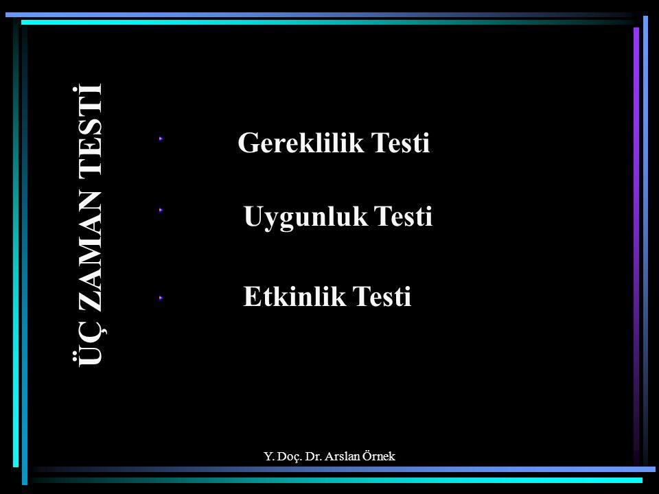 Y. Doç. Dr. Arslan Örnek ÜÇ ZAMAN TESTİ Gereklilik Testi Uygunluk Testi Etkinlik Testi