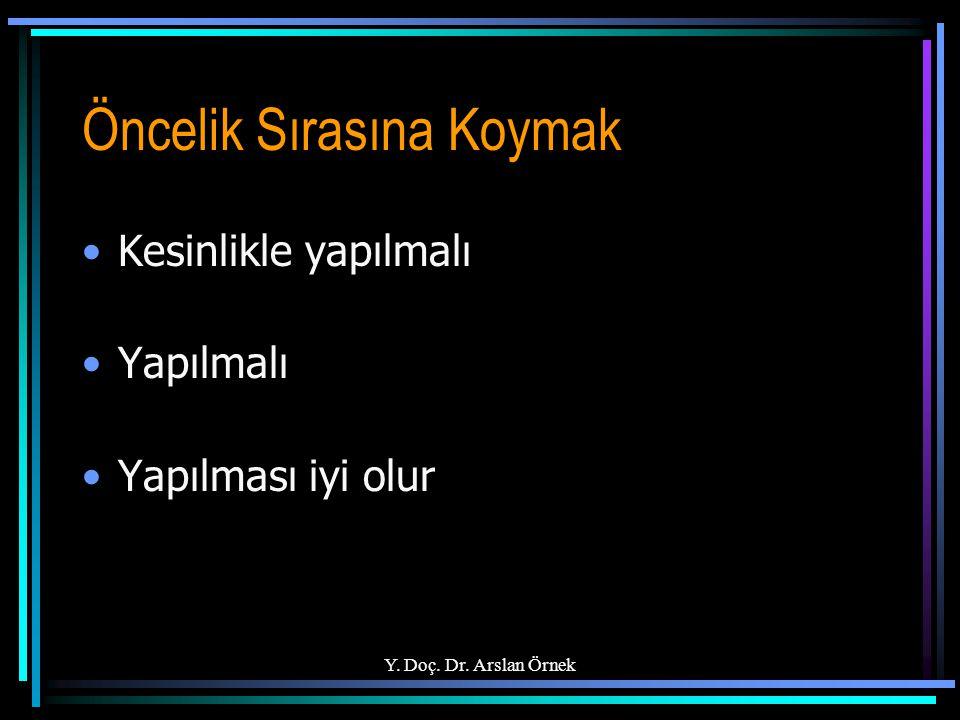 Y. Doç. Dr. Arslan Örnek Öncelik Sırasına Koymak Kesinlikle yapılmalı Yapılmalı Yapılması iyi olur