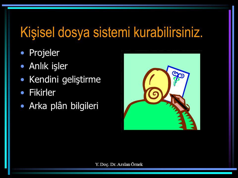 Y. Doç. Dr. Arslan Örnek Kişisel dosya sistemi kurabilirsiniz. Projeler Anlık işler Kendini geliştirme Fikirler Arka plân bilgileri