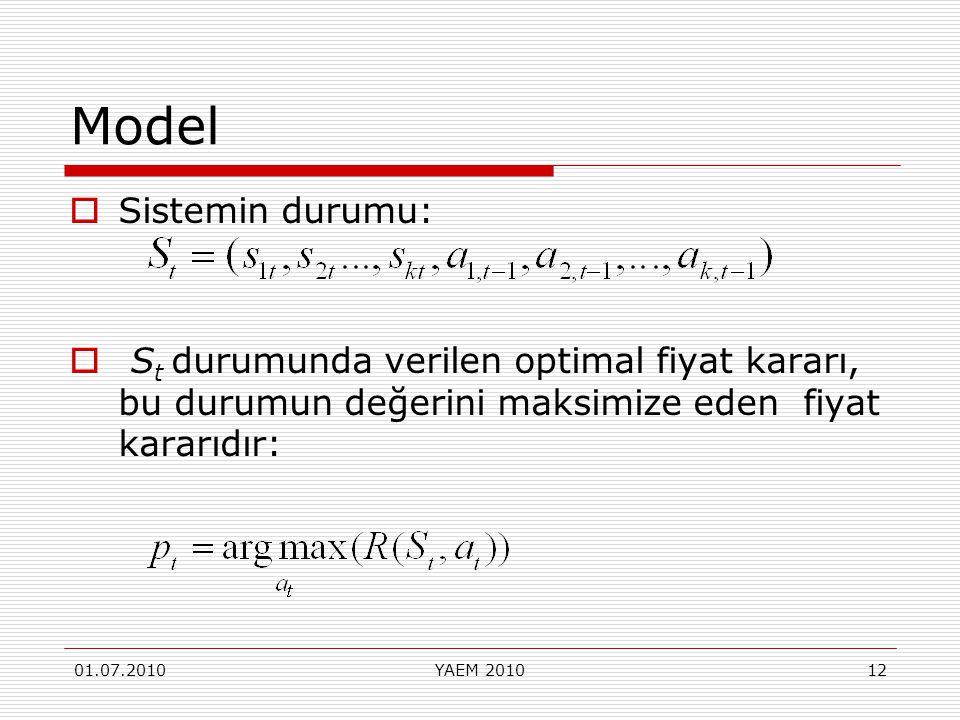 01.07.2010YAEM 201012 Model  Sistemin durumu:  S t durumunda verilen optimal fiyat kararı, bu durumun değerini maksimize eden fiyat kararıdır: