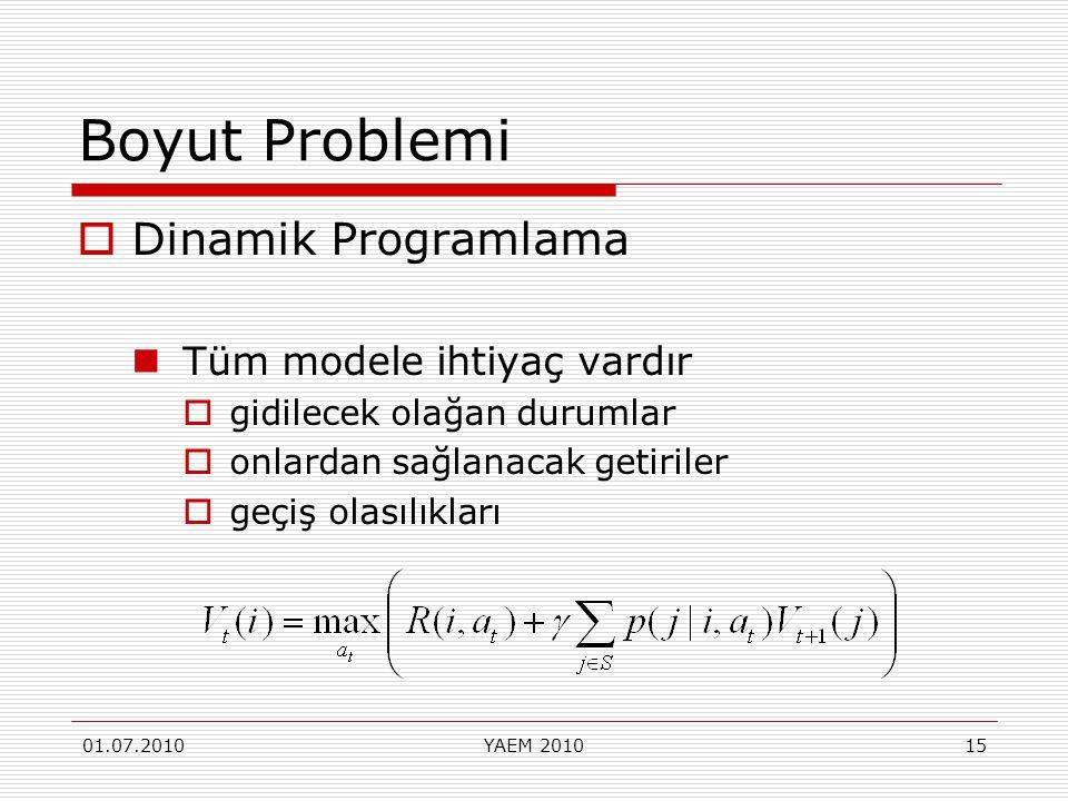 01.07.2010YAEM 201015 Boyut Problemi  Dinamik Programlama Tüm modele ihtiyaç vardır  gidilecek olağan durumlar  onlardan sağlanacak getiriler  geç