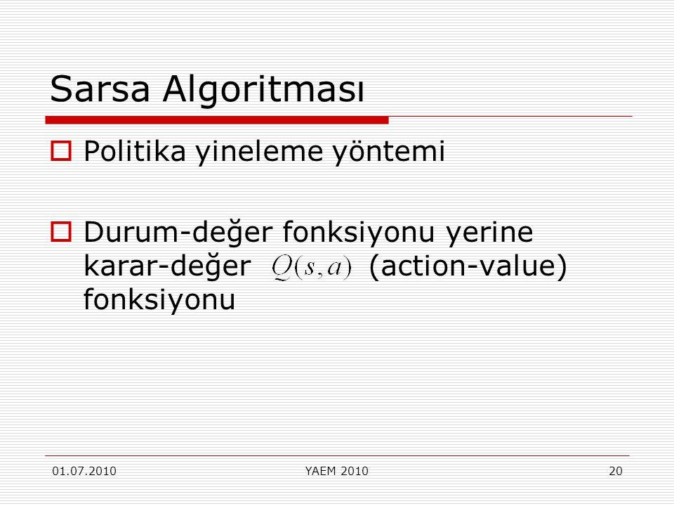 01.07.2010YAEM 201020 Sarsa Algoritması  Politika yineleme yöntemi  Durum-değer fonksiyonu yerine karar-değer (action-value) fonksiyonu