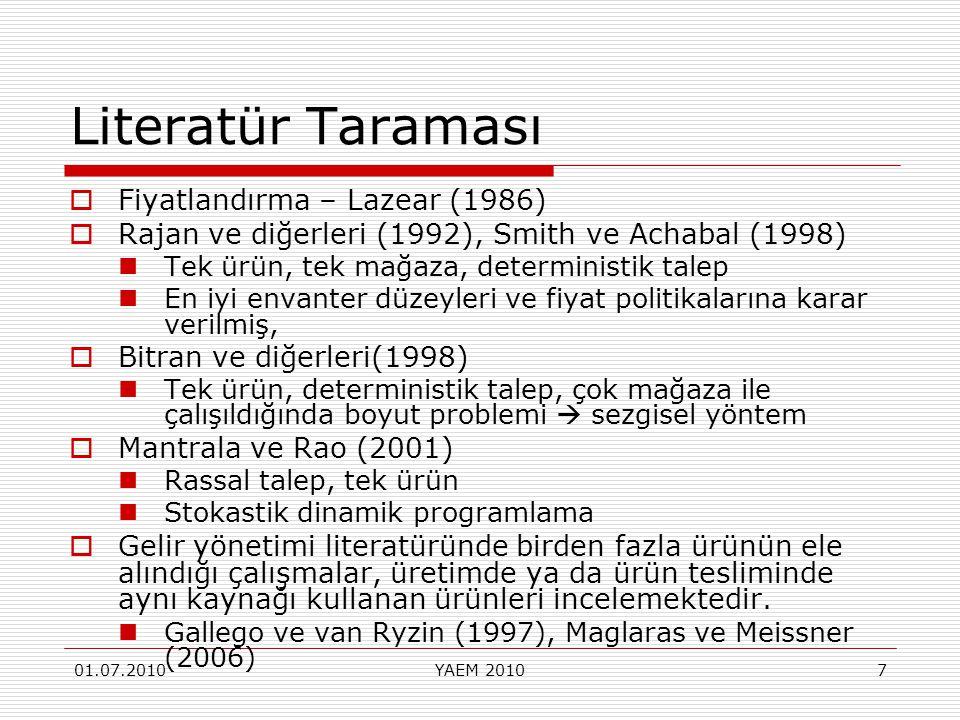 01.07.2010YAEM 20107 Literatür Taraması  Fiyatlandırma – Lazear (1986)  Rajan ve diğerleri (1992), Smith ve Achabal (1998) Tek ürün, tek mağaza, det