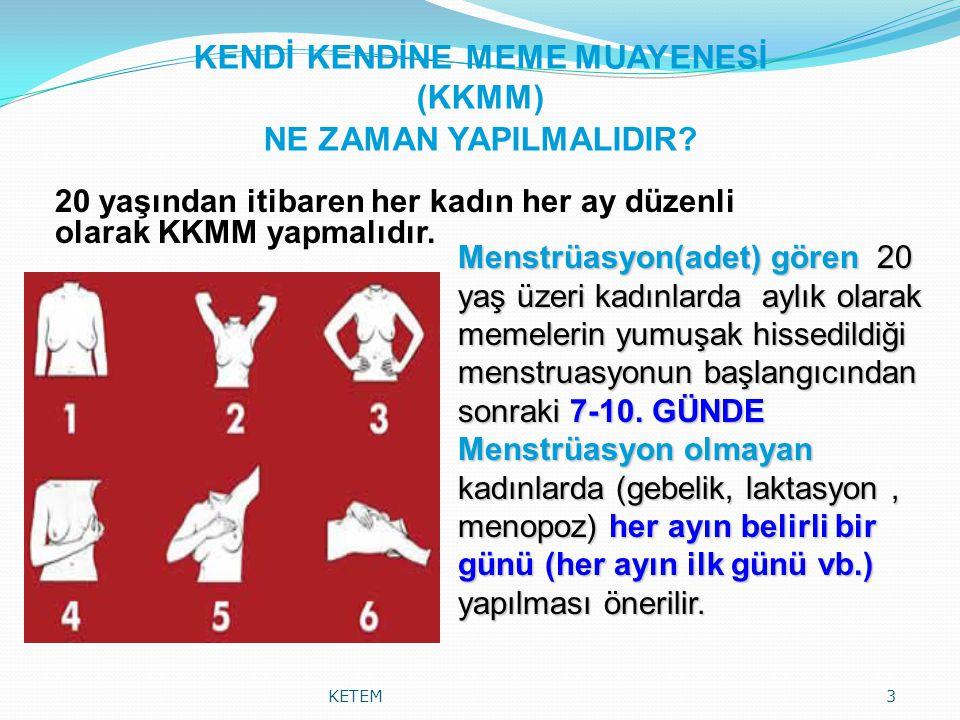 KENDİ KENDİNE MEME MUAYENESİ (KKMM) NE ZAMAN YAPILMALIDIR? 20 yaşından itibaren her kadın her ay düzenli olarak KKMM yapmalıdır. KETEM3 Menstrüasyon(a