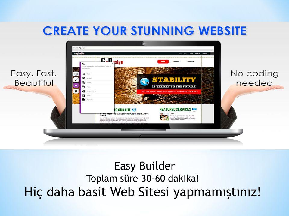 Easy Builder Toplam süre 30-60 dakika! Hiç daha basit Web Sitesi yapmamıştınız!