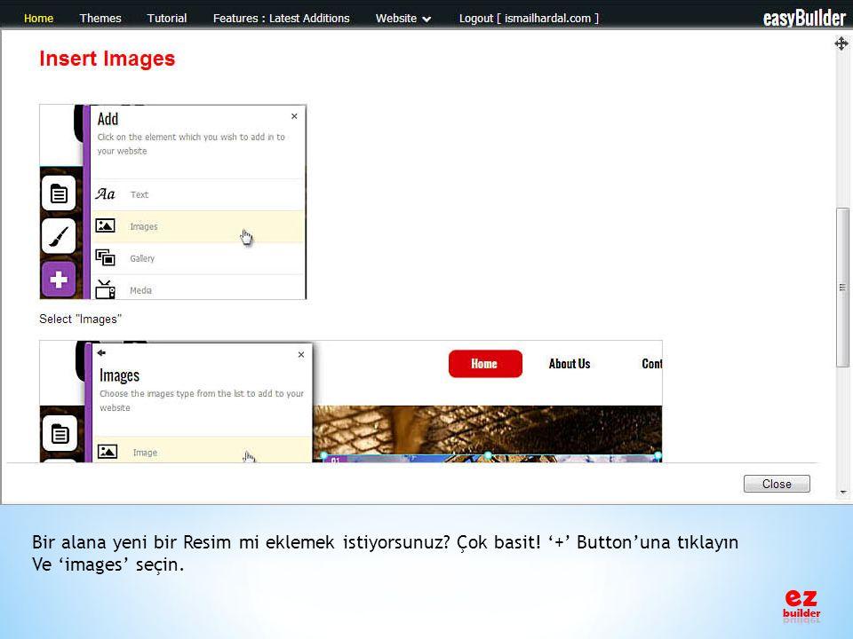 Bir alana yeni bir Resim mi eklemek istiyorsunuz? Çok basit! '+' Button'una tıklayın Ve 'images' seçin.