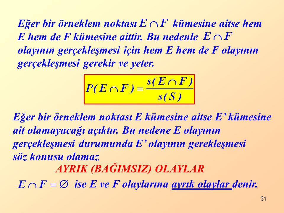 31 Eğer bir örneklem noktası kümesine aitse hem E hem de F kümesine aittir. Bu nedenle olayının gerçekleşmesi için hem E hem de F olayının gerçekleşme