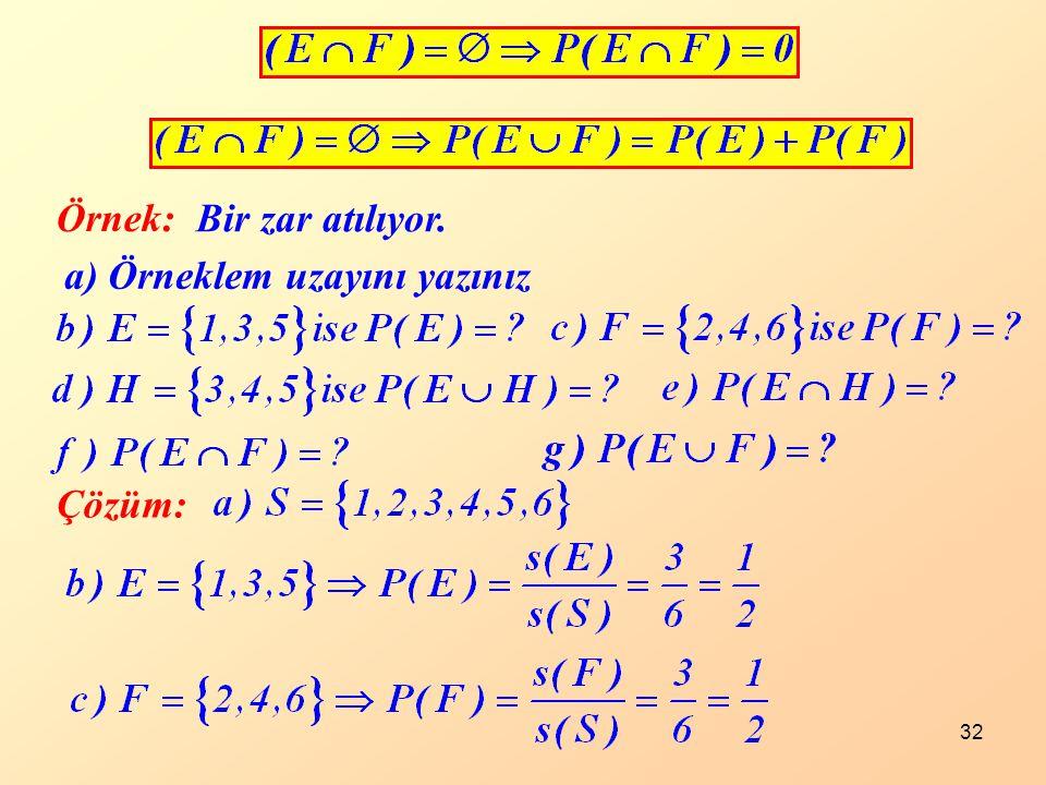 32 Örnek: Bir zar atılıyor. a) Örneklem uzayını yazınız Çözüm: