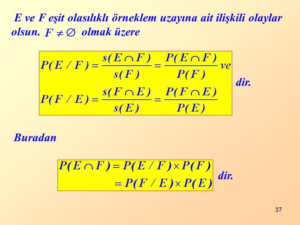 37 dir. E ve F eşit olasılıklı örneklem uzayına ait ilişkili olaylar olsun. olmak üzere dir. Buradan