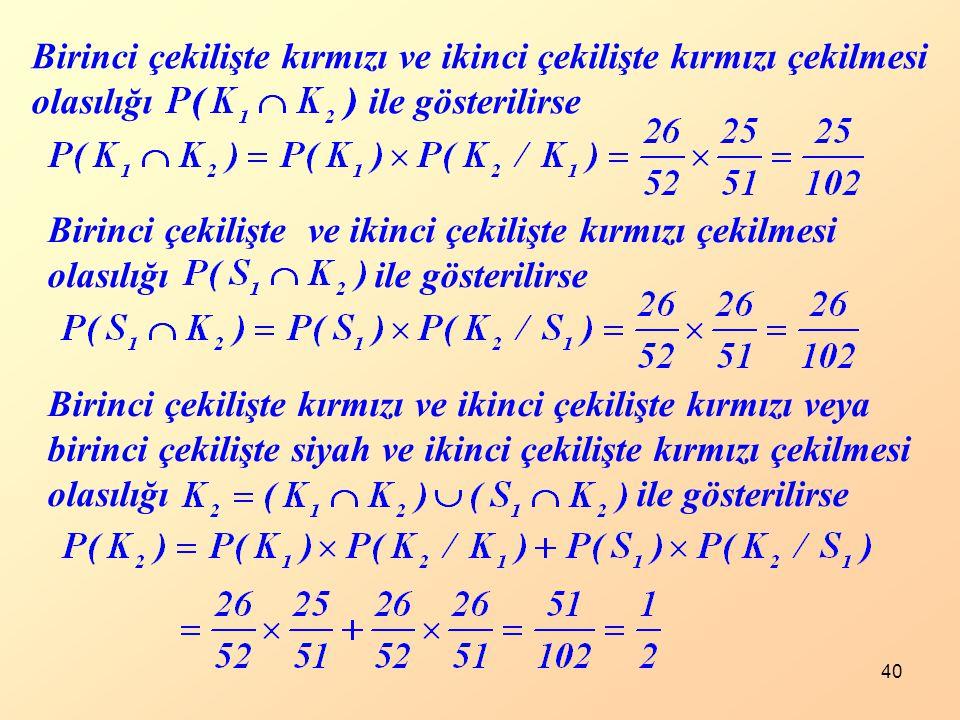 40 Birinci çekilişte kırmızı ve ikinci çekilişte kırmızı çekilmesi olasılığı ile gösterilirse Birinci çekilişte ve ikinci çekilişte kırmızı çekilmesi