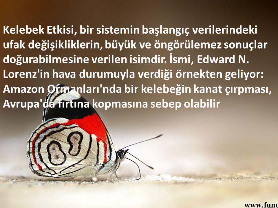 Kelebek Etkisi, bir sistemin başlangıç verilerindeki ufak değişikliklerin, büyük ve öngörülemez sonuçlar doğurabilmesine verilen isimdir. İsmi, Edward