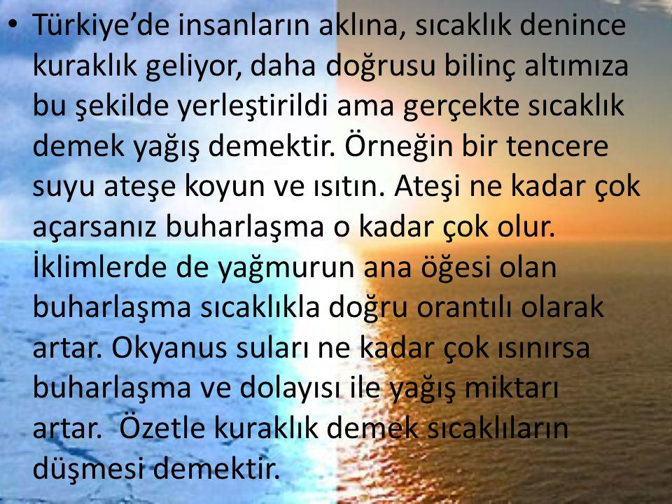 Türkiye'de insanların aklına, sıcaklık denince kuraklık geliyor, daha doğrusu bilinç altımıza bu şekilde yerleştirildi ama gerçekte sıcaklık demek yağ