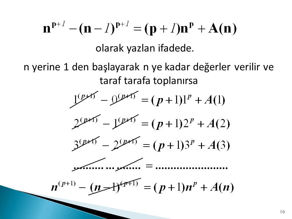 olarak yazlan ifadede. n yerine 1 den başlayarak n ye kadar değerler verilir ve taraf tarafa toplanırsa 10